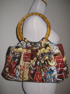 $68 Mis Cositas Day of the Dead Sugar Scull Skeleton Print Handbag Tote with Cane Handles