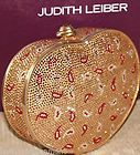 Judith Leiber Golden Red Paisley Valentine Heart Minaudiere Clutch Bag
