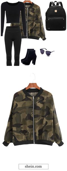 Army Green Camouflage Jacket. Coolest camo fashion outlook!