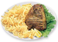 1/2 POLLO ALLA GRIGLIA  Alla diavola il Pollo! Però che sia ben saporito e arrostito con Patate Fritte o Verdure fresche.