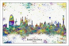 BARCELONA City Skyline, Barcelona, Map of Spain, Map of Barcelona, Painted Maps, Splatter Art, Custom Maps, SPAIN
