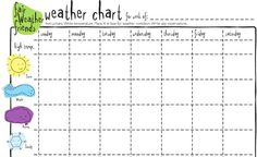 FREE printable Weather chart. No need for snowy in TX though.