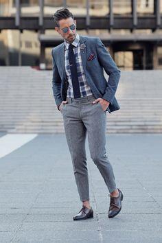 Menswear, Mens Style, Mens Fashion, Clothing, Street Style, Blue Blazer, Checkered Shirt, Grey Pants