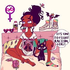 i thought of sailor moon then I looked at the cat's forehead properly😂 Black Girl Cartoon, Black Girl Art, Black Women Art, Art Girl, Black Girls, African American Art, African Art, Sailor Moon, Arte Black