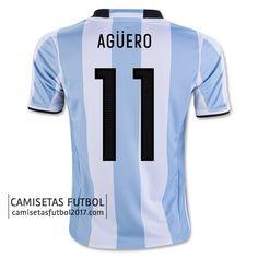 2016 Argentina Soccer Team AGUERO Home Jersey 3d37f7396c03d