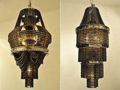 Chandeliers made out of BICYCLE CHAIN. Excellent.