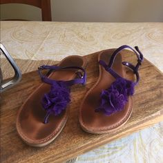 GAP Purple T-strap Sandals Frilly & Fun. Purple Sandals - great for the beach! They have been worn and loved. Still in good shape. T Strap Sandals, Shoes Sandals, Purple Sandals, Gap Shoes, Fashion Tips, Fashion Design, Fashion Trends, Shape, Beach