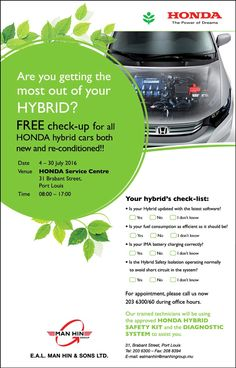 EAL Man Hin & Sons Ltd: Free Checkup - Honda Hybrid vehicles (Both Local & Second Hand). Tel: 203 6300