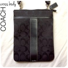 """authentic COACH cross body PRELOVED in good condition. minor wear & tear, zipper is a little sticky (not a completely smooth zip) nothing visibly noticeable. adjustable strap & flat shape is perfect for traveling. one slip pocket outside front & one zippered pocked outside back. original dust bag included  height- 8.5""""  length- 6.5"""" width- flat  due to lighting- color of actual item may vary from photos.   i do not trade or take any transactions off poshmark, so please do not ask.  happy…"""