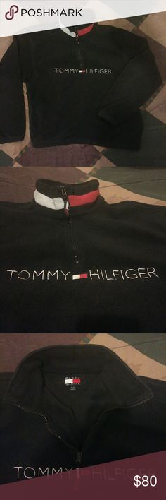 RARE VINTAGE FLEECE (TOMMY HILFIGER) CONDITION 8/10  OPEN TO REASONABLE OFFERS   SIZE XL  FITS LIKE L Tommy Hilfiger Sweaters Zip Up