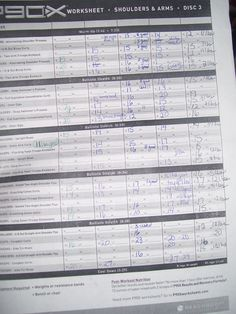 This is an example of one the worksheets that I used for p90x, and that you can get from your FREE Beachbody account. www.beachbodycoach.com/iib4 #Beachbody #Beachbodycoach #p90x