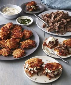 Latke Sliders | What could be better than a platter of tiny burgers? Burgers made with crispy latkes in place of the buns, of course. We streamlined our way to a classic crispy latke by using prepared hashbrowns in place of shredded potatoes. Don't get us wrong—we LOVE using shredded potatoes—but there's a lot of squeezing involved and since we'd like you to make the brisket too, well, we did you a favor. You can make the brisket and the horseradish mayo up to 3 days ahead. Reheat the…