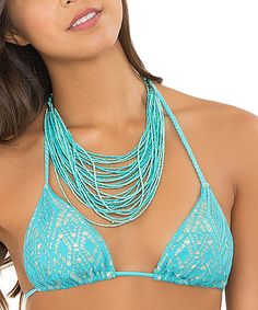 Look at this #zulilyfind! Aruba Blue Crochet Triangle Bikini Top - Women #zulilyfinds