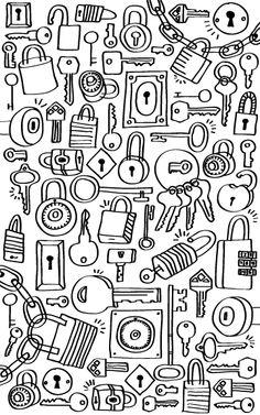 . Key Lock, Locks, Doodles, Door Latches, Donut Tower, Doodle, Castles, Zentangle