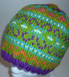 Multicolored Knit Hat Wool Fair Isle.