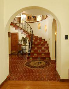 Gorgeous hexagon terracotta tile entry Stairs, Decor, Home, Terracotta Tiles, Spanish Style Homes, Entry, Hexagon, Terracotta