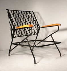 Maurizio Tempestini; Enameled Metal and Wood Armchair Frame for Salterini, 1950s.