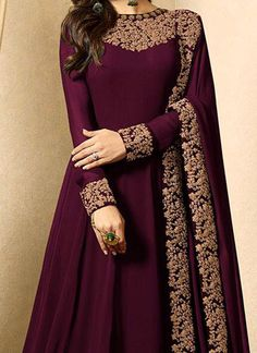 Buy Drashti Dhami Wine Embroidered Anarkali Suit online, SKU Code: This Wine color Party anarkali suit for Women comes with Embroidered Faux Georgette. Designer Anarkali Dresses, Designer Party Wear Dresses, Kurti Designs Party Wear, Indian Designer Outfits, Shadi Dresses, Indian Gowns Dresses, Flapper Dresses, Dresses Dresses, Bridal Dresses