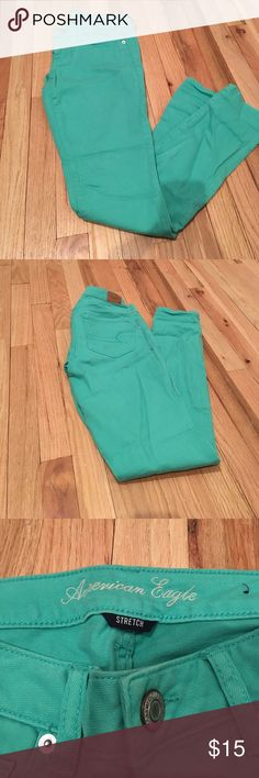 American Eagle Mint Green Skinny Jeans American Eagle Skinny Jeans. Mint green. Size 4. Stretch denim. Runs a little big. Great condition - only worn a few times. Never put in the dryer. American Eagle Outfitters Jeans Skinny