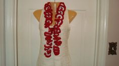 Hand-Crocheted Candy Cane Ruffle Scarf Red and White Christmas Scarf NEW