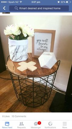 Kmart metal basket transformed into a side table home pinterest kmart metal basket transformed into a side table home pinterest metal baskets metals and bed room greentooth Images