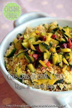 Primo piatto: cous cous con speck e guarnito con zucchine