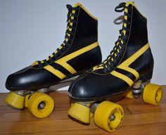 Vintage 1970's Marco Polo Roller Skates Men's Size 12 Derby Black & Yellow…