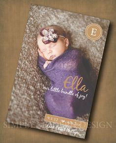 Printable Newborn Baby Birth Announcement - DIY printable - Cute - 4 x 6 - Custom Colors. $14.00, via Etsy.
