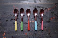 水玉スプーン小 本朱   HandMade in Japan 手仕事の新しいマーケットプレイス iichi Spoon, Tableware, Dinnerware, Dishes, Spoons