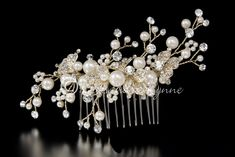 Gold Wedding Comb with Pearls and Crystal Leaves
