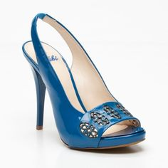 Sling Back Leather Heels in Blue  // FABI