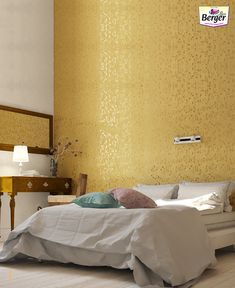 Give your bedroom wall an elegant look by painting it in a metallic texture.