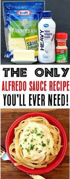 Salsa Alfredo Receta, Sauce Alfredo, New Recipes, Favorite Recipes, Dinner Recipes, Recipes With Sauce, Recipes With Alfredo Sauce, Pizza Recipes, Garlic