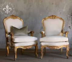 ELOQUENCE One-of-a-Kind - Chairs - Vintage Armchair Pair with Gold Gilt Finish - Cottage Haven Interiors