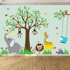 Childrens Wall Decal Jungle Safari Tree Monkeys by wallartdesign The post Wall decals for kids nursery wall art jungle wall stickers baby wall stickers tree decals jungle theme nursery room stickers appeared first on Children's Room. Childrens Wall Decals, Nursery Decals, Kids Wall Decals, Nursery Room, Nursery Wall Art, Baby Room, Childrens Stickers, Bedroom Kids, Kids Rooms