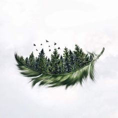 Specializing in surrealism photography, self-taught Photoshop expert Luisa Azevedo creates composite photos straight out of a dream. Natur Tattoos, Kunst Tattoos, Body Art Tattoos, Tatoos, Drawing Tattoos, Cover Up Tattoos, Leaf Tattoos, Sleeve Tattoos, Pine Trees Forest