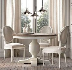 Awesome Round Dinning Table Design Ideas - Page 16 of 70 White Round Kitchen Table, Round Dinning Table, Dinning Table Design, Dining Room Table Decor, White Dining Table, Room Chairs, Round Tables, Restoration Hardware Kitchen, French Country Dining Room