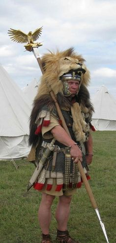 Aquilifer carrying the Eagle standard (Aquila) - the lion's head is the customary dress for this position.