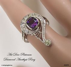Platinum Diamond Amethyst Art Deco Ring Art by AntiquingOnLine