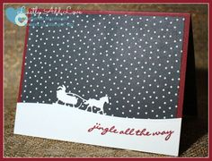 Handmade Christmas card with envelope. Blank inside for your personal message. Back of card features artist information and copyright information for Stampin' U