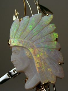 Carved Opal Diamond 18K Gold Cameo of American Indian