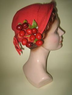 Vintage 1940's Red Cherry Hat by Sessel St. by KittensCaboodles