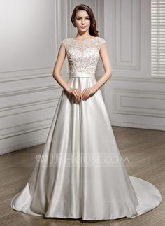 A-Line/Princess Scoop Neck Chapel Train Satin Lace Wedding Dress With Beading Sequins (002056605) - JJsHouse