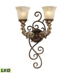 Regency 2 Light LED Wall Sconce In Burnt Bronze And Gold Leaf 2155/2-LED