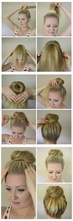 How to Use a Hair Donut: Hair Tutorial (quick easy curls tips) Donut Bun Hairstyles, Up Hairstyles, Pretty Hairstyles, Hair Bun Donut, Medium Hair Styles, Short Hair Styles, Classic Hairstyles, Tips Belleza, Hair Dos