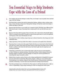Free printable handout that school counselors can share with grieving students: Ten Essential Ways to Help Students Cope with the Loss of a Friend
