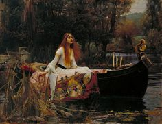 This painting illustrates scenes from Alfred Tennyson's poem 'The Lady of Shallot' telling the story of a cursed woman. 'The Lady of Shalott' by John William Waterhouse Tate John William Waterhouse, John William Godward, Dante Gabriel Rossetti, Canvas Art Prints, Framed Art Prints, Oil On Canvas, Canvas Artwork, Gustav Klimt, Ophelia Painting