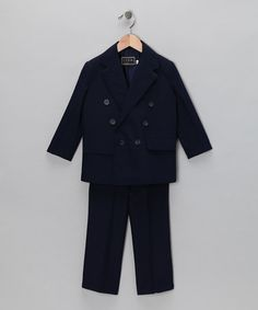 Take a look at this Navy Two-Piece Double-Breasted Suit Set - Boys by Lida on #zulily today!