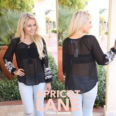 """A sheer black top perfect for a date night just hit our store. Model is wearing a small and is 5'3"""". $44 lulumari #shopalb #apricotlane"""