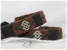 Gaelic Leather Cuff Bracelet With Celtic Knot by ChrisOsCreations, €8.00
